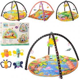 Коврик для малюка RE333-15-16-18-19 (18шт) 83см,дуга 2шт, подвески5шт,4вида 65-46,5-6 53983