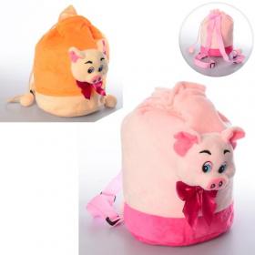 Рюкзак MP 1665 свинка, 24-23-12см,размер средний,1отд, застеж-завязка,мягкий,2цвета 45530