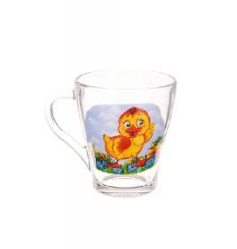 """Чашка 250мл  скляний Грація """"Курча"""" (4вида) (13с1649)х20шт 53804"""