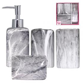 Набір 4 пр Граніт 888-06-021(мильниця, підставка для зубних щіток,стакан, діспенсер для мила) 50180