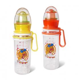 Бутылочка пластиковая с подвижными ручками, с погремушкой 250мг 091  (38077)