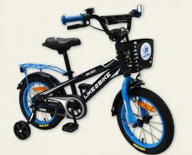 Велосипед детский 14''  2-х колес 201404 (1шт) Like2bike Dark Rider, чёрный/синяя, рама сталь 53076