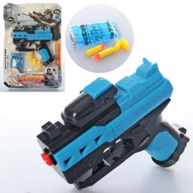Пистолет 760-1 (96шт) 13,5см,водян.пули, пули-присоски 2шт, пули(резина)2шт, на листе,19-28-3 53149