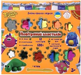 Набір легкого повітряного пластиліну на 12 кольорів (по 10 гр.), ТМ Тетрада, ТЕ1240753420