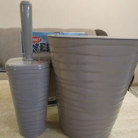ВОЛНА набор ведро для мусора + высокий ёршик (Серый камень)UP-171 53562