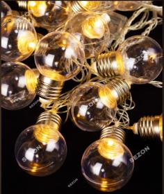 Гирлянди Лампочки 40мм, 20 LED, 7м , білий теплий 13645-07 (50477)