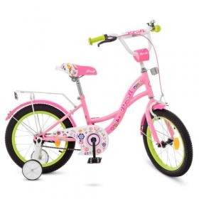 Велосипед детский PROF1 16д. Y1621-1 (1шт) Bloom, розовый,звонок,доп.колеса 47777