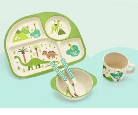 """Посуда детская бамбук """"Динозавры"""" 5пр/наб (2тарелки, вилка, ложка, чашка) MH-2773-4 (12наб)53903"""