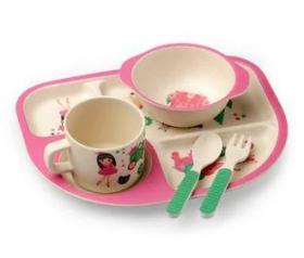 """Посуда детская бамбук """"Замок принцессы"""" 5пр/наб (2тарелки, вилка, ложка) MH-2773-5 (12наб) 53905"""