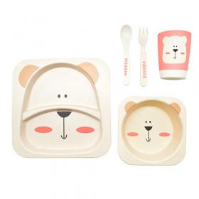 """Посуда детская бамбук """"Полярный мишка"""" 5пр/наб (2тарелки, вилка, ложка) MH-2770-13 (12шт) 53908"""