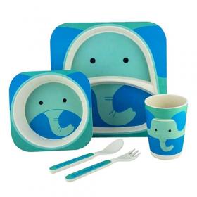 """Посуда детская бамбук """"Слон"""" 5пр/наб (2тарелки, вилка, ложка, стакан) MH-2770-26 (12шт) 53909"""
