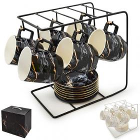 "Чашки с блюдцами на подставке ""Мрамор"" 13пр/наб 250мл R88419 (6шт)53922"