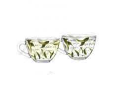"Чашка 200мл скляний Прага ""Green Tea""круг.декор (2вида) х24шт  (08с1416) 53807"