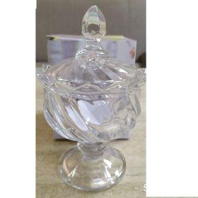 """Цукорниця на ніжці з кришкою скляна Crystal """"Hercules"""" д.9cм в упаковці (YBCG-256)53829"""