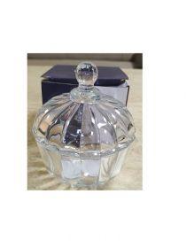 """Цукорниця скляна  Crystal """"Miranda"""" з кришкою д.9,2см в упаковці (YBCG-152) 53830"""