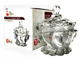"""Цукорниця скляна  Crystal """"Ponti"""" з кришкою д.9,2см в упаковці (YBCG-155)53832"""