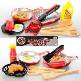 Посуда P3012 (96шт) продукты, сковородка, лопатка,  2 вида, на листе, 21-28-4 54040