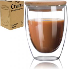 Чашка 350мл з подвійною стінкою та бамбуковою кришкою 201-26  40915