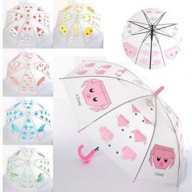 Зонтик детский MK 4114 (60шт) длина66см,трость60см,диам83см,спица49см, свисток,клеенка,6вид 53970