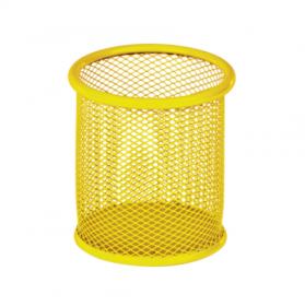 Підставка для ручок кругла 90х90х100мм, ZB.3100-08  метал, жовта 47233