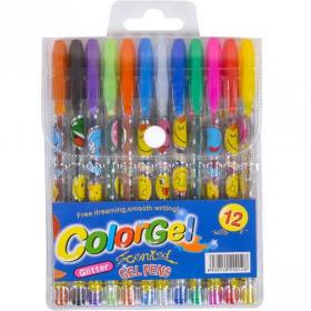"""Ручка гелева набір  """"ColorGel"""" 12цв ST01031 х15шт 53000"""