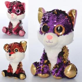Мягкая игрушка MP 2143 (24шт) животное, размер средний, глазастики, пайетки, 3цв,в кульке,18 54024