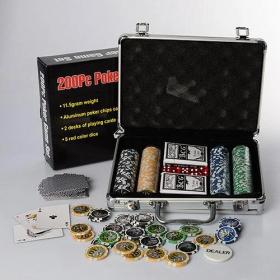 Настольная игра M 2779 (6шт) покер,200фиш 2кол.карт,кубик,в чемодане(алюм),30-20-8с 54027
