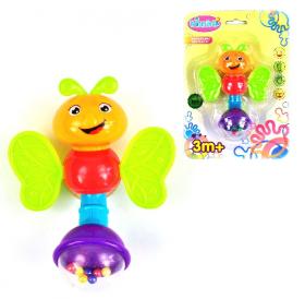 Погремушка 012-1-630A (360шт) бабочка, 18,5см, микс цвеотв, в кульке, 15-21-3  54036