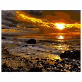 """Набір для розпису по номерах VA-0309 """"Захід сонця біля моря"""", розміром 40х50 см 57683"""