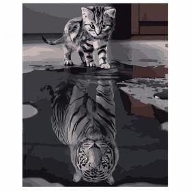 """Набір для розпису по номерах VA-0500 """"Кіт та тигр"""", розміром 40х50 см 57685"""
